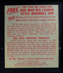 1955 Red Man #5 AL Bob Grim  Back Thumbnail