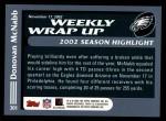 2003 Topps #301   -  Donovan McNabb Weekly Wrap-Up Back Thumbnail