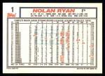 1992 Topps #1  Nolan Ryan  Back Thumbnail
