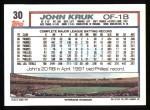 1992 Topps #30  John Kruk  Back Thumbnail