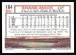 1992 Topps #164  Shane Mack  Back Thumbnail