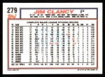 1992 Topps #279  Jim Clancy  Back Thumbnail