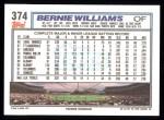 1992 Topps #374  Bernie Williams  Back Thumbnail