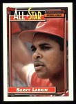 1992 Topps #389   -  Barry Larkin All-Star Front Thumbnail