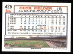 1992 Topps #425  Cecil Fielder  Back Thumbnail