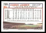 1992 Topps #709  Chris James  Back Thumbnail