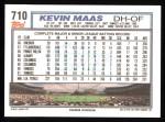 1992 Topps #710  Kevin Maas  Back Thumbnail