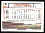 1992 Topps #735  Greg Swindell  Back Thumbnail