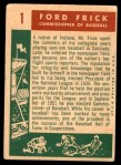 1959 Topps #1   -  Ford Frick Commissioner of Baseball Back Thumbnail