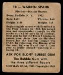1948 Bowman #18  Warren Spahn  Back Thumbnail