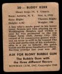 1948 Bowman #20  Buddy Kerr  Back Thumbnail