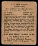 1948 Bowman #7  Pete Reiser  Back Thumbnail