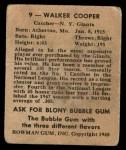 1948 Bowman #9  Walker Cooper  Back Thumbnail