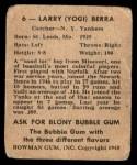1948 Bowman #6  Yogi Berra  Back Thumbnail
