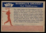1959 Fleer #14   -  Ted Williams  Outstanding Rookie of 1939 Back Thumbnail