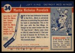 1954 Topps #34  Marty Pavelich  Back Thumbnail