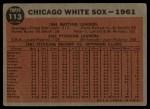 1962 Topps #113 GRN  White Sox Team Back Thumbnail