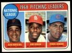 1969 Topps #10   -  Juan Marichal / Bob Gibson / Fergie Jenkins NL Pitching Leaders Front Thumbnail