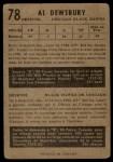 1953 Parkhurst #78  Al Desbury  Back Thumbnail