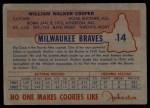 1953 Johnston Cookies #14  Walker Cooper   Back Thumbnail