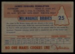1953 Johnston Cookies #25  Jim Pendleton   Back Thumbnail